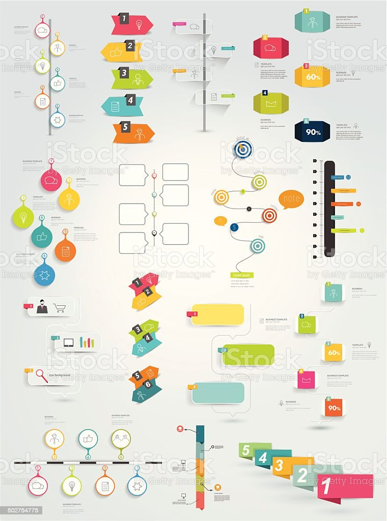 Big collection of timeline template. Vector infographic. vector art illustration