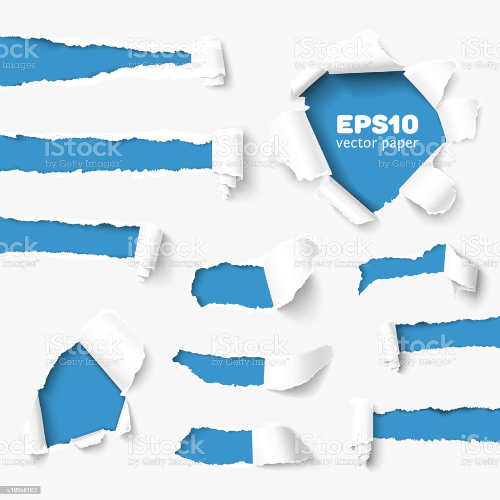 Big collection of torn paper vector art illustration