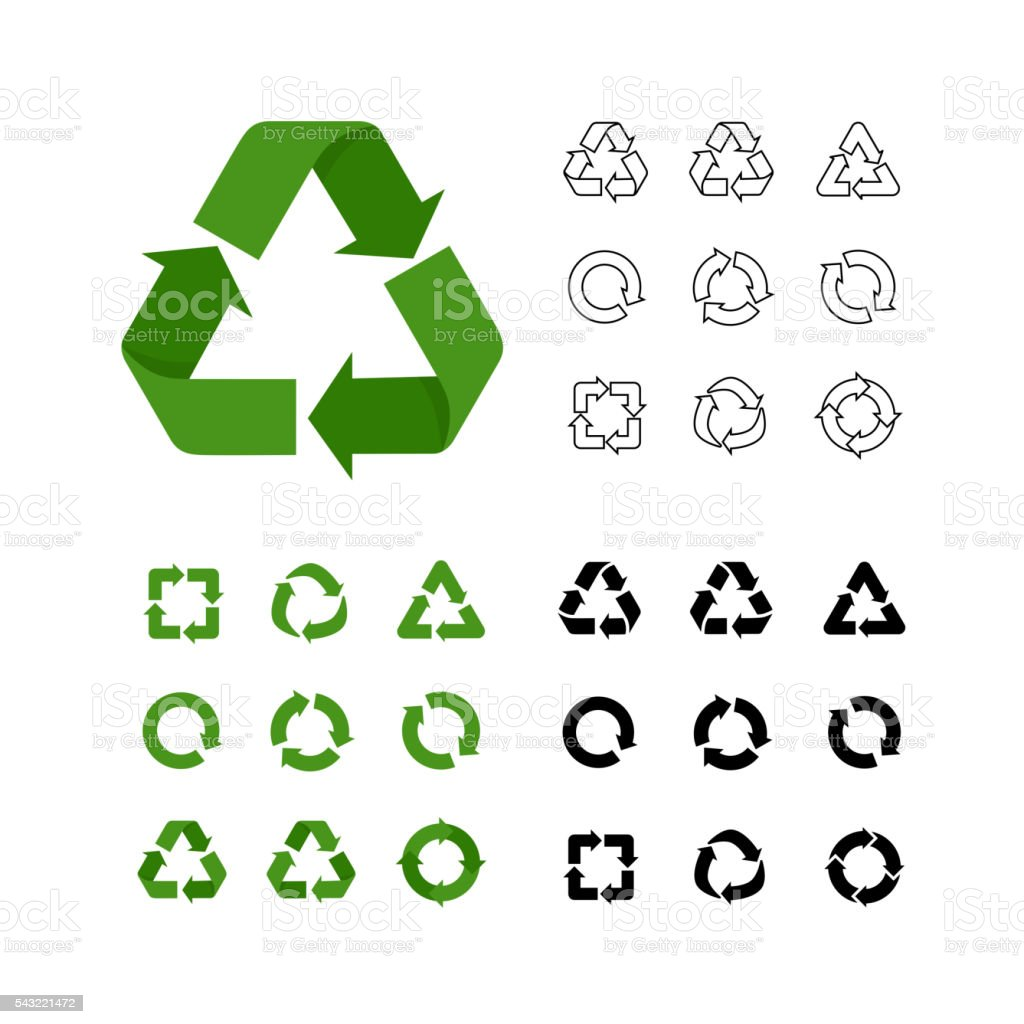 Big collection of vector recycle reuse icons various style linear vector art illustration