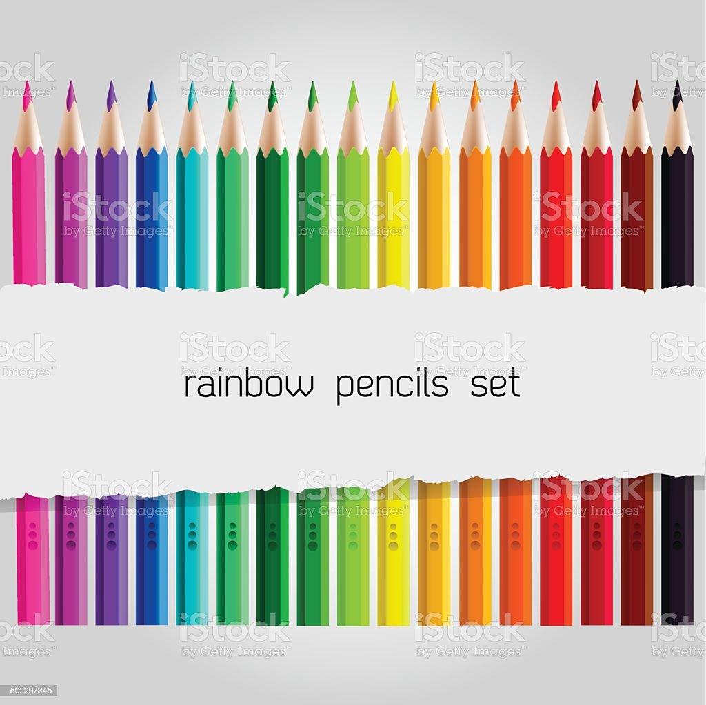 Big color pencil set vector art illustration