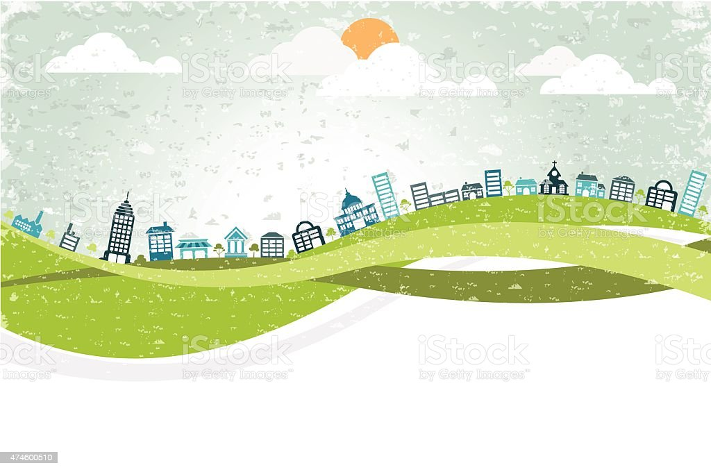 Big colorful city vector art illustration