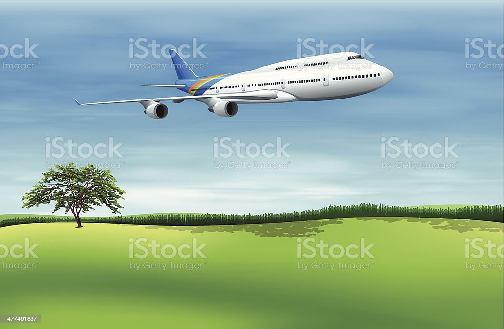 Big commercial plane royalty-free stock vector art