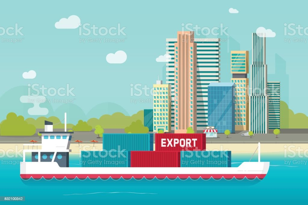 Big container ship sailing in ocean or sea port with lots of cargo containers vector illustration, flat carton shipping transportation vessel or containership floating near city shore vector art illustration