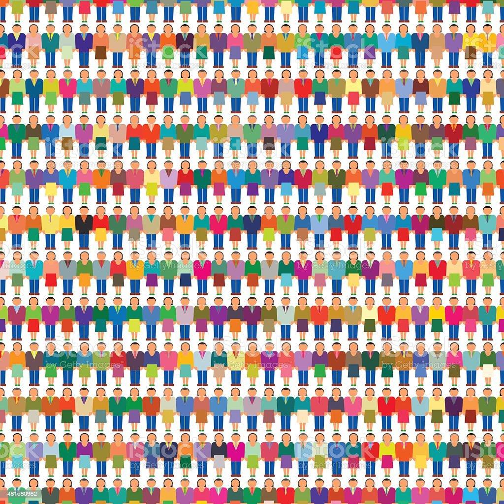 Big Crowd Group People Population vector art illustration