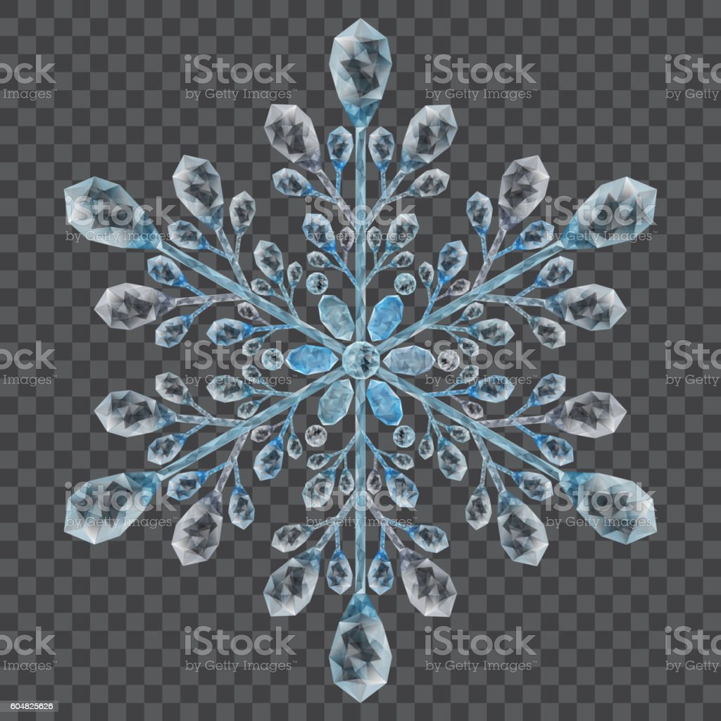 Big crystal snowflake vector art illustration