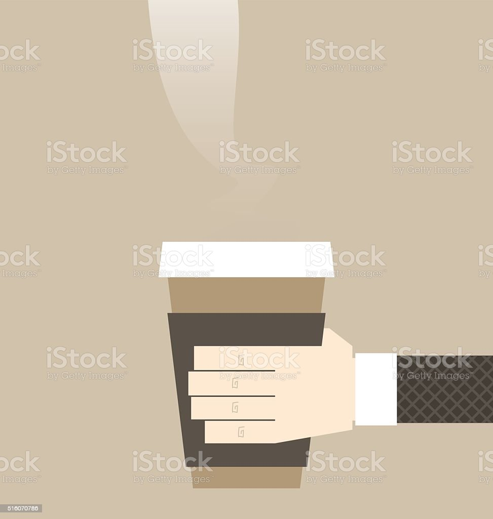 Big cup of coffee to go vector art illustration