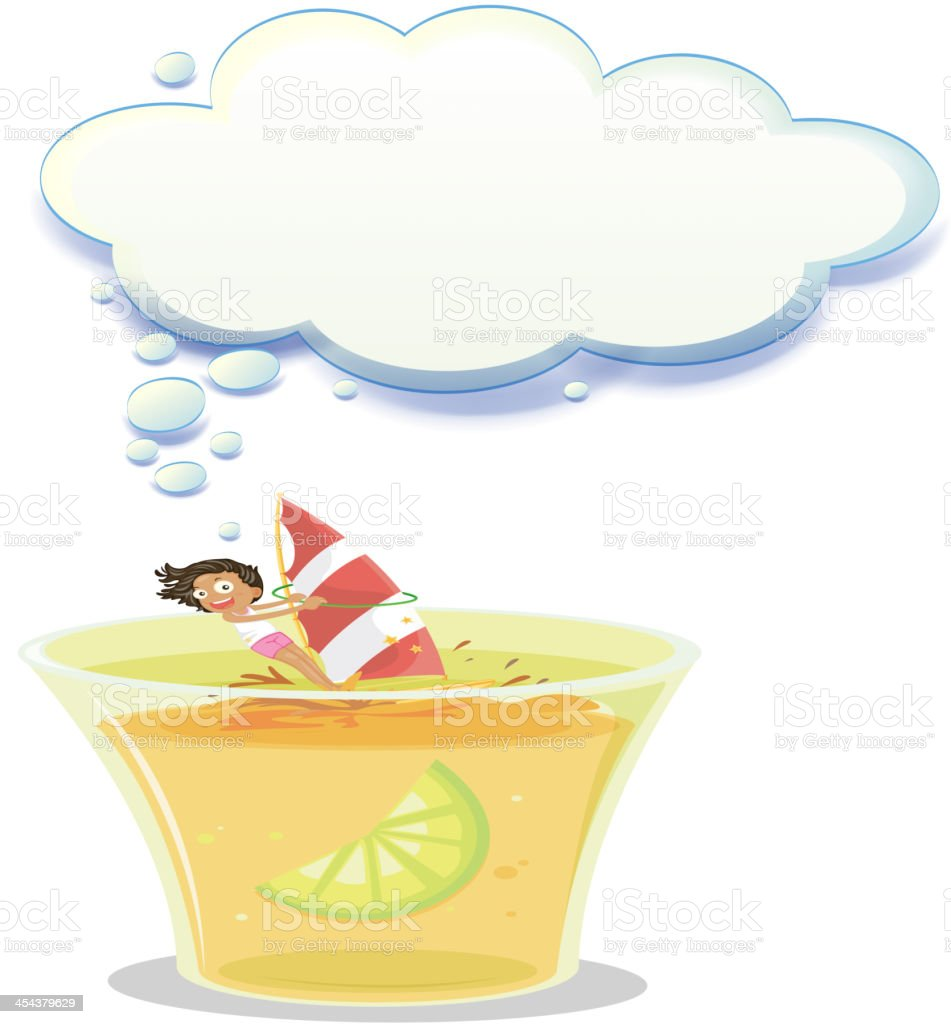 big cup with a young girl playing royalty-free stock vector art