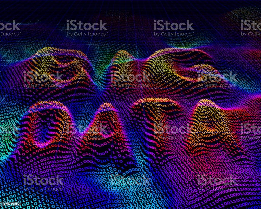 Big data. Binary code background vector art illustration