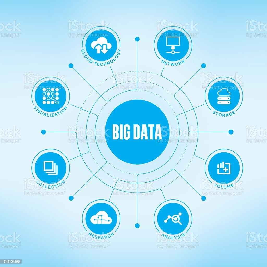 Big Data chart with keywords and icons vector art illustration