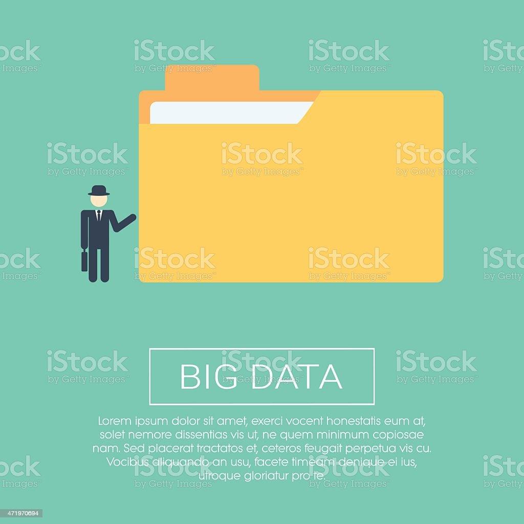 Big data concept illustration. Flat design for business presentation. Folder vector art illustration