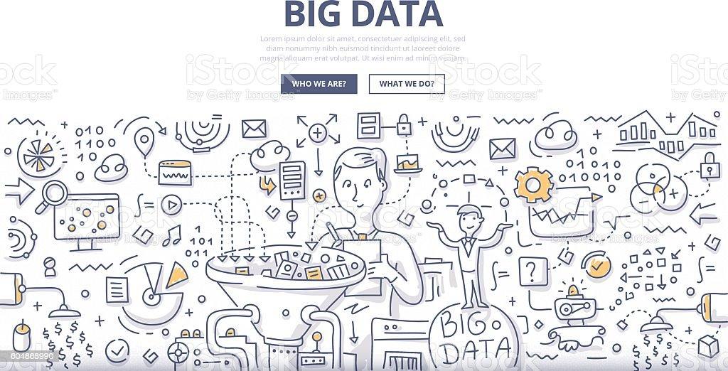 Big Data Doodle Concept vector art illustration