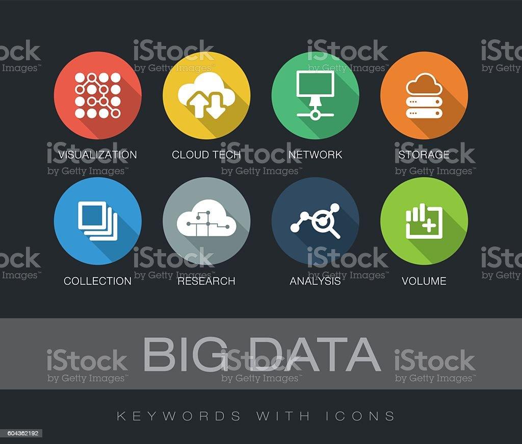 Big Data keywords with icons vector art illustration