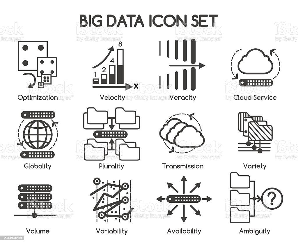 Big data vector icons vector art illustration