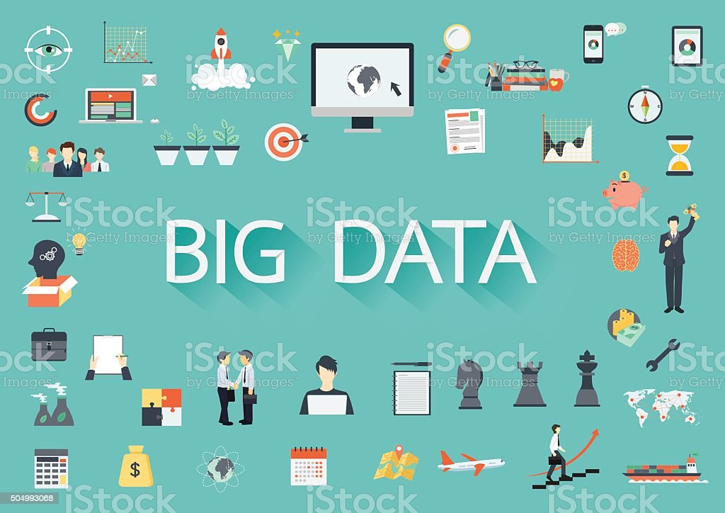 Big data with flat icons vector art illustration