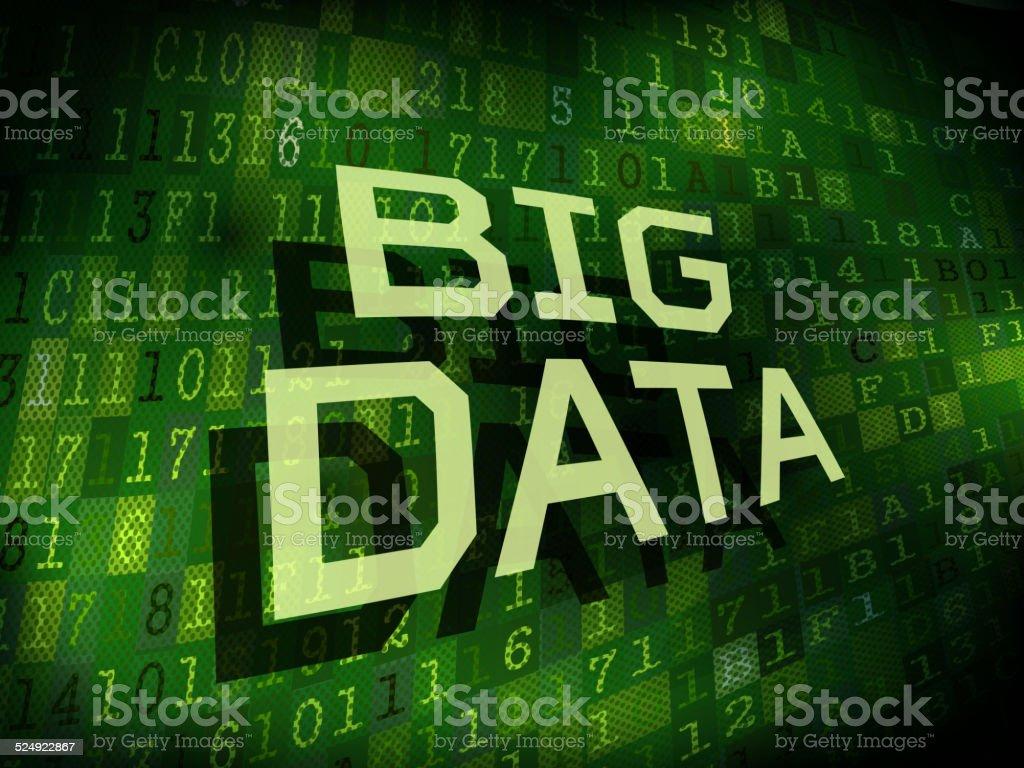 big data words isolated on digital background vector art illustration