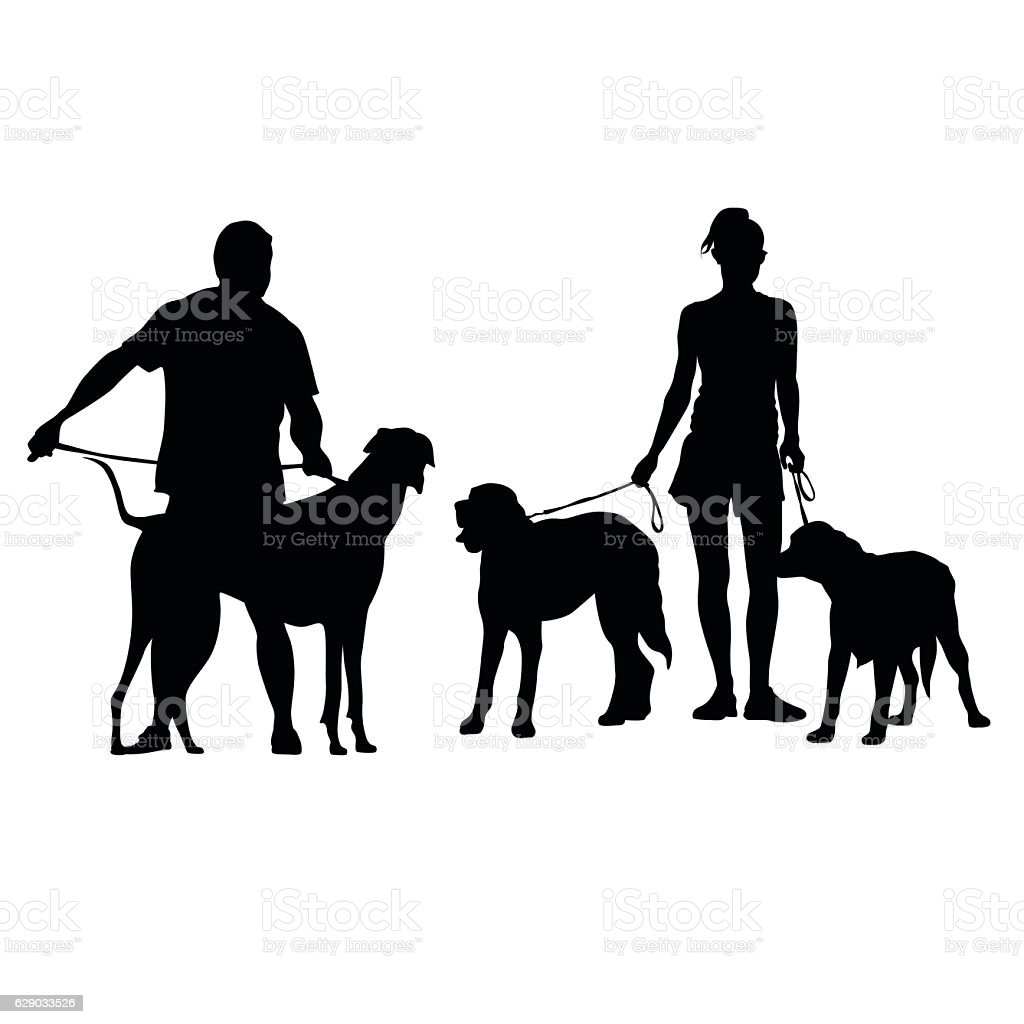 Big Dogs Out For A Walk vector art illustration