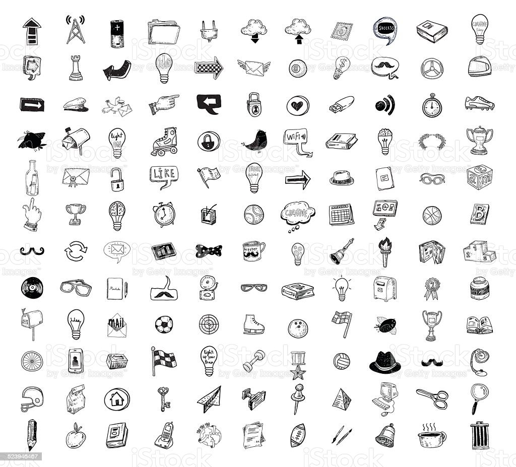 Big doodle set, collection icon, vector. vector art illustration