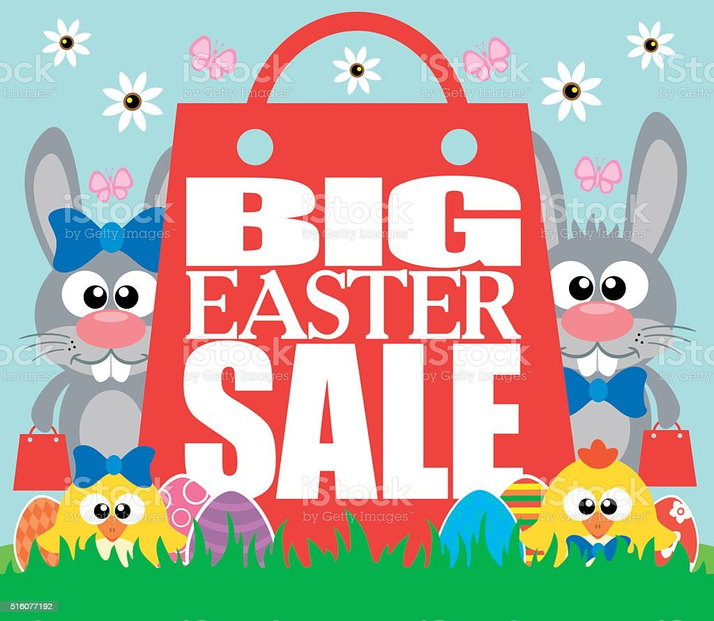 Big Easter Sale with funny chickens and rabbits vector art illustration