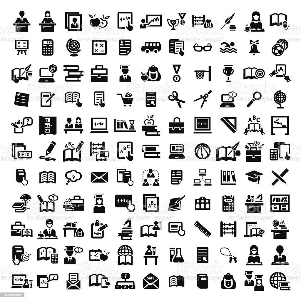 big education vector icons set vector art illustration
