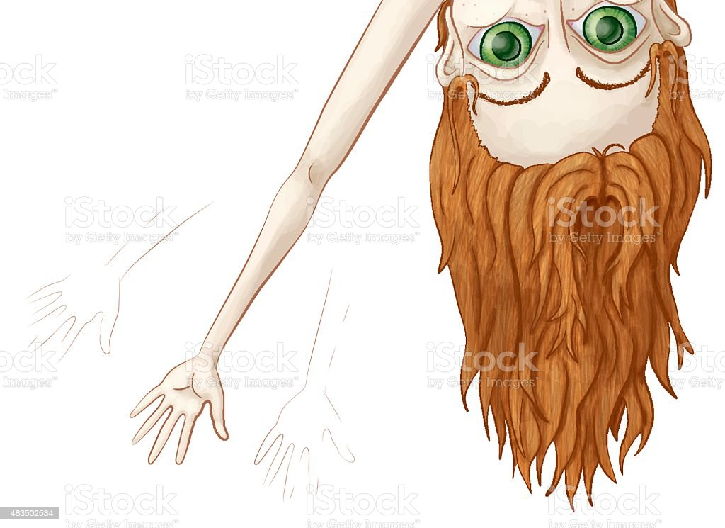 Big Eyed Girl Peeking Over and Waving vector art illustration