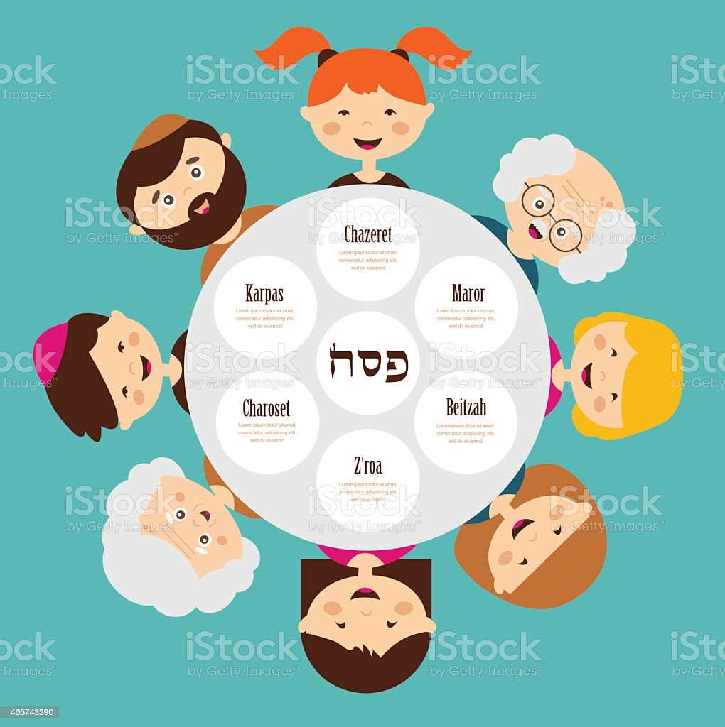 big family around passover plate, pesah in hebrew. happy holiday. vector art illustration