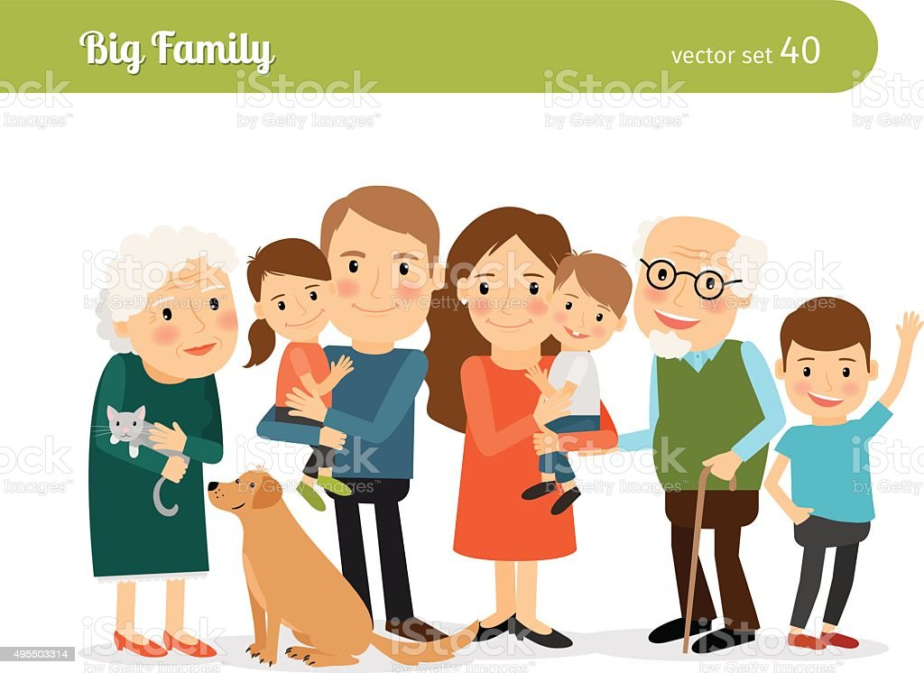 Big family portrait vector art illustration