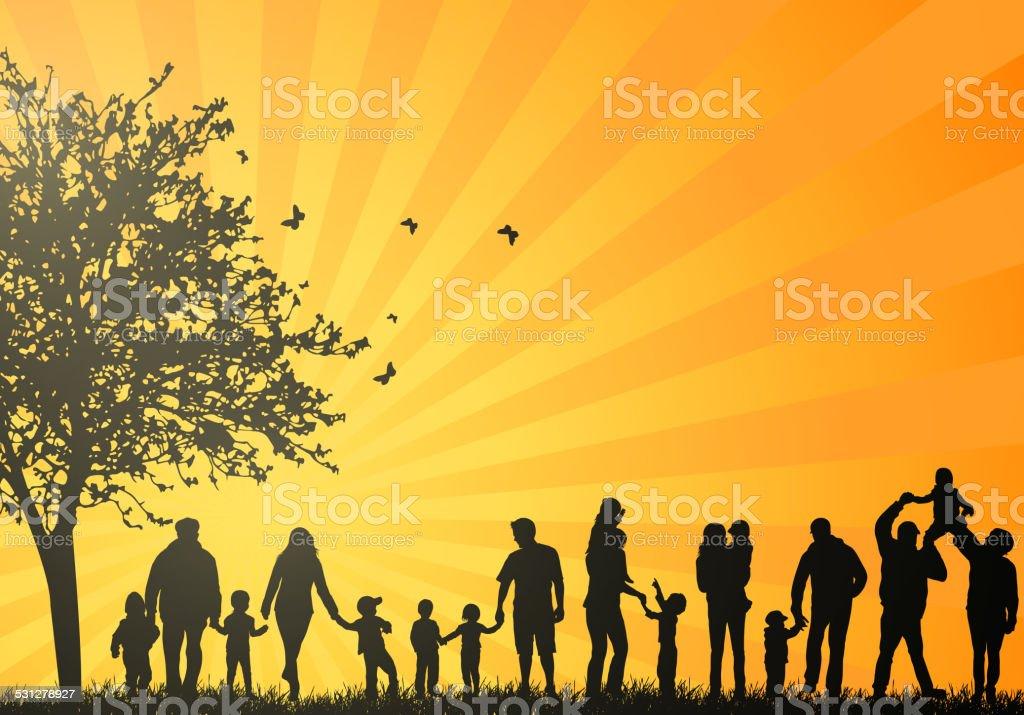 Big family silhouettes vector art illustration
