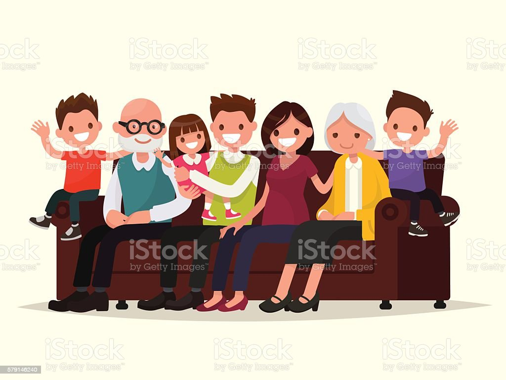 Big family sitting on the sofa. Grandfather, grandmother, father vector art illustration