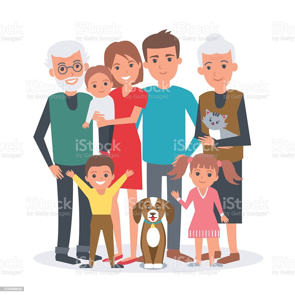 Big family vector art illustration