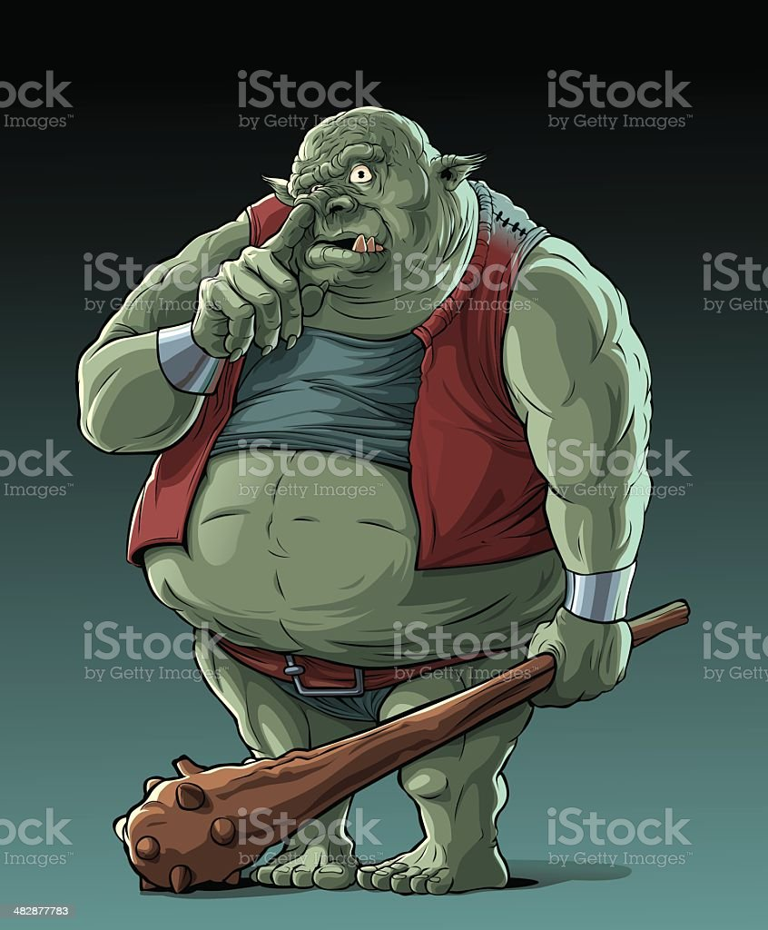 Big fat troll (orc) in forest vector art illustration