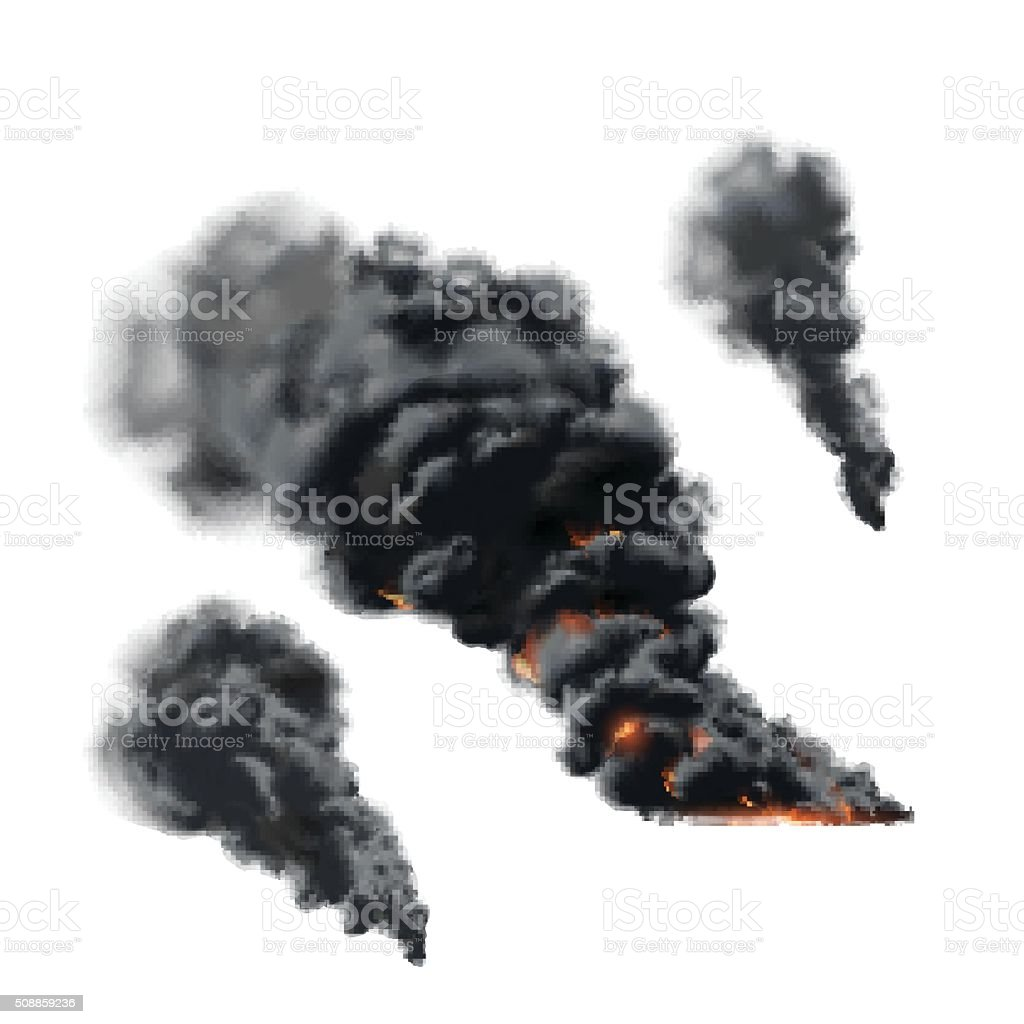 Big fire smoke set vector art illustration