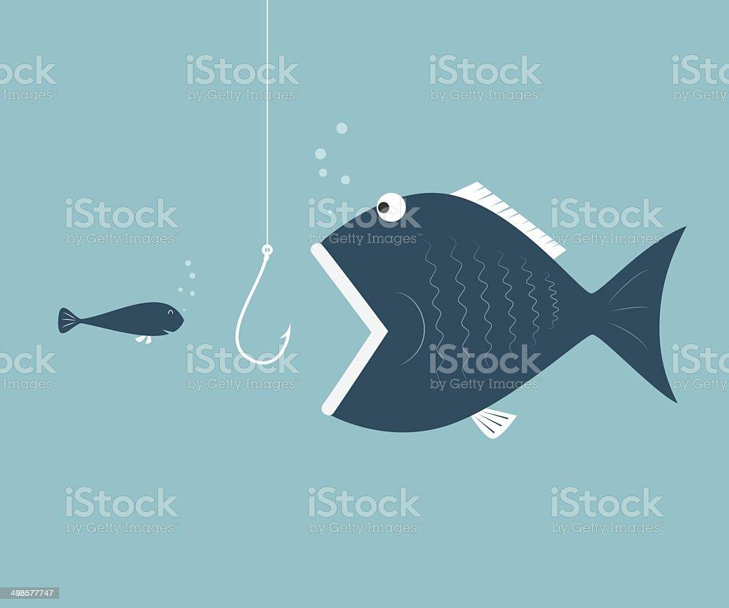 Big fish eat little fish. Concept of Saving oneself vector art illustration