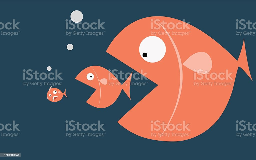 Big fish eat small fish vector art illustration