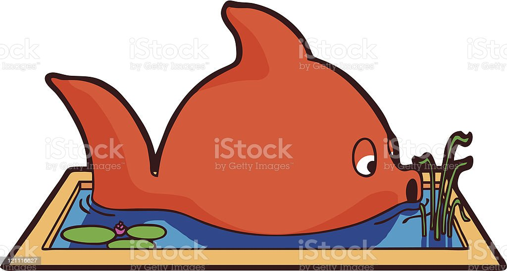 Big Fish in a Small Pond vector art illustration