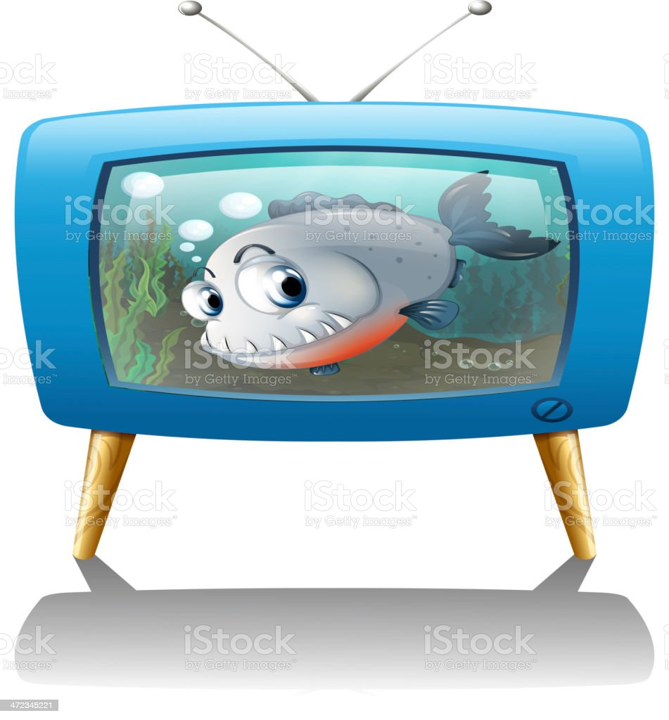 Big fish in the television royalty-free stock vector art