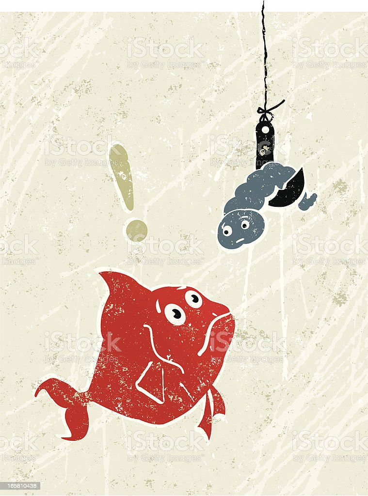Big Fish Sees a Little Worm on Hook vector art illustration