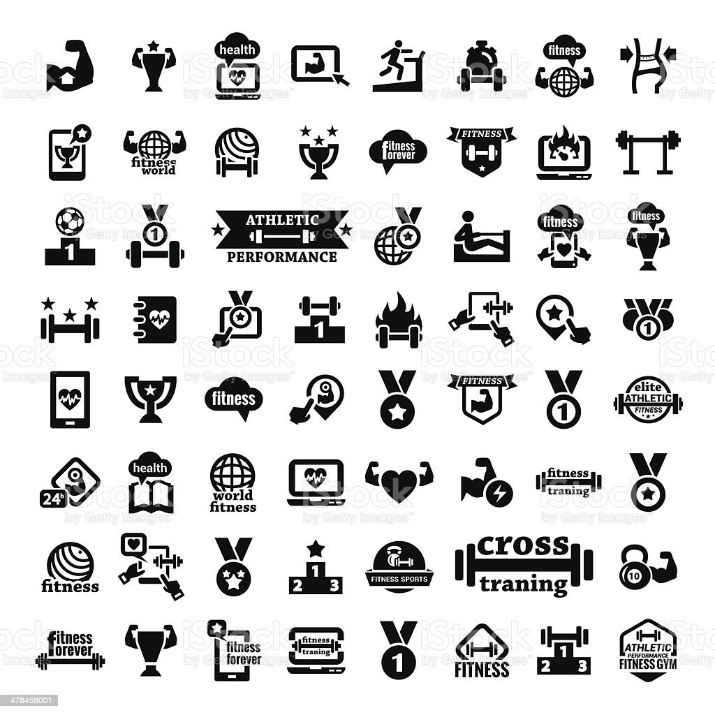 big fitness icons set vector art illustration