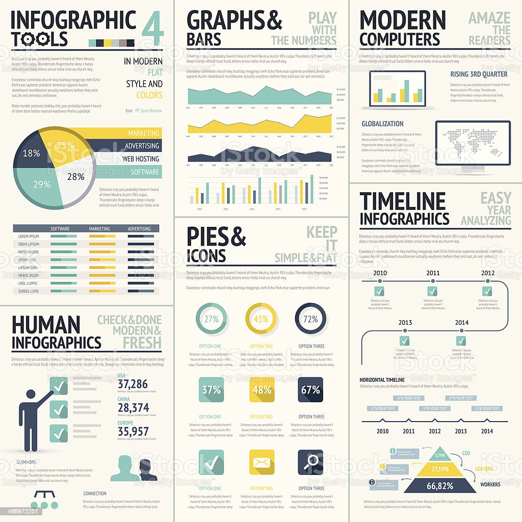 Big flat colored infographic elements vector set vector art illustration