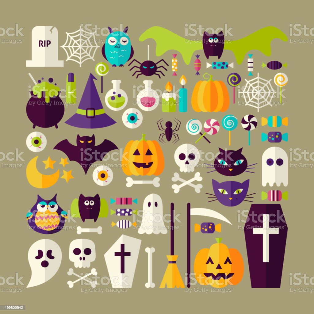 Big Flat Style Vector Collection of Halloween Holiday Objects vector art illustration