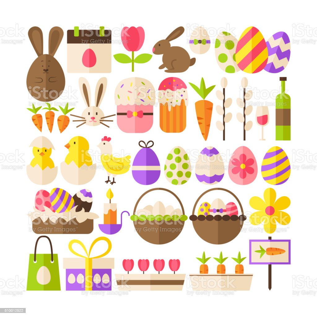 Big Flat Vector Collection of Happy Easter Objects vector art illustration