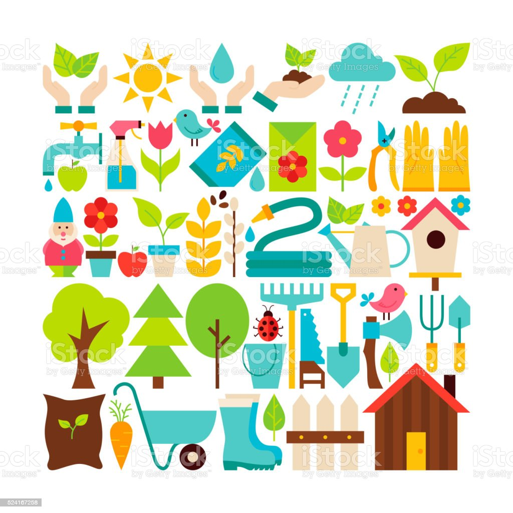 Big Flat Vector Collection of Spring Garden Objects vector art illustration