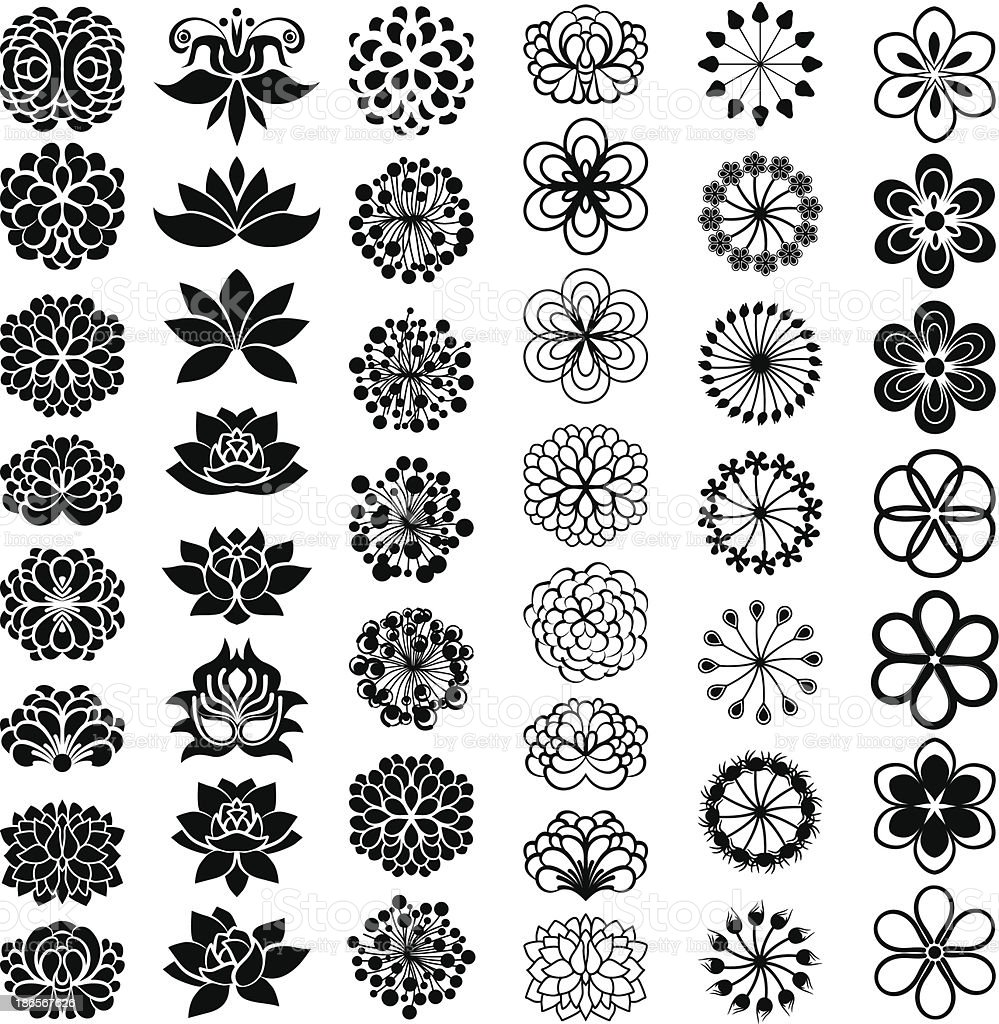Big floral set vector art illustration