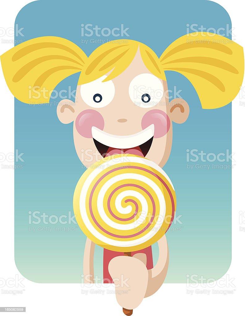 Big Girl Lollipop vector art illustration