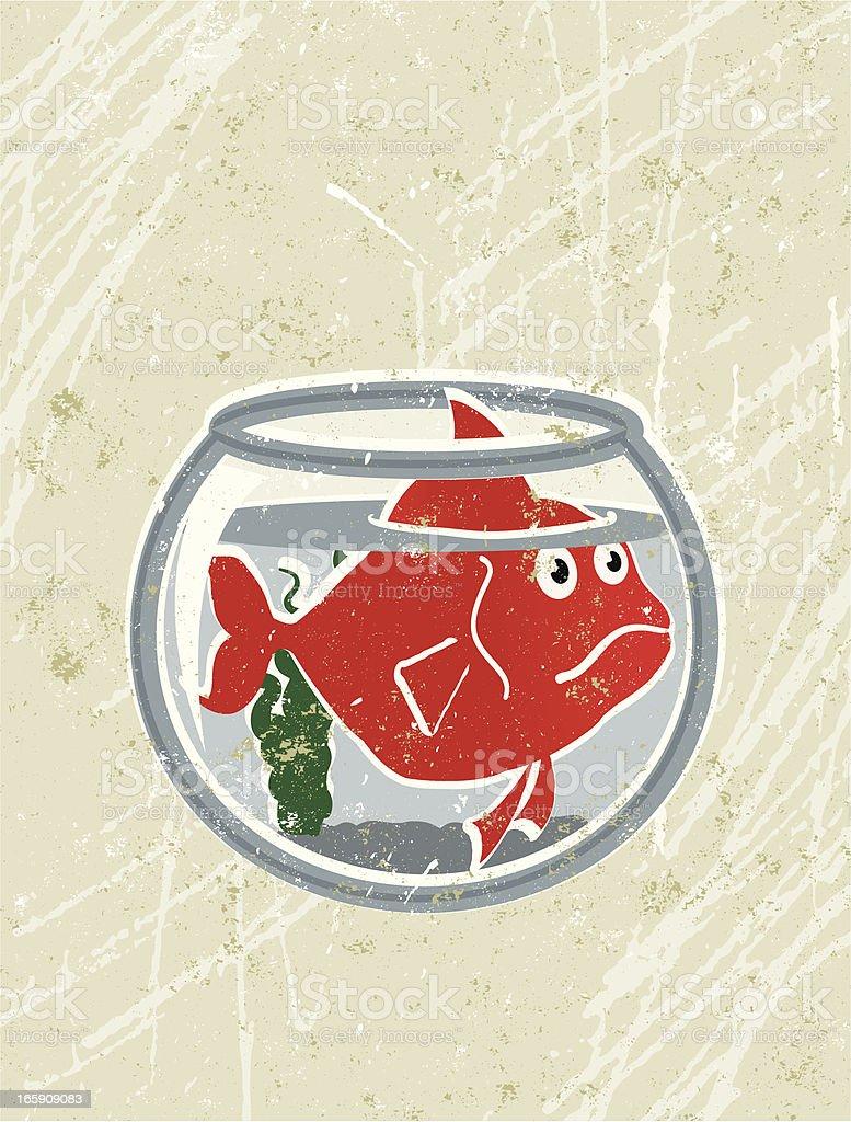 Big Goldfish in a Small Bowl vector art illustration