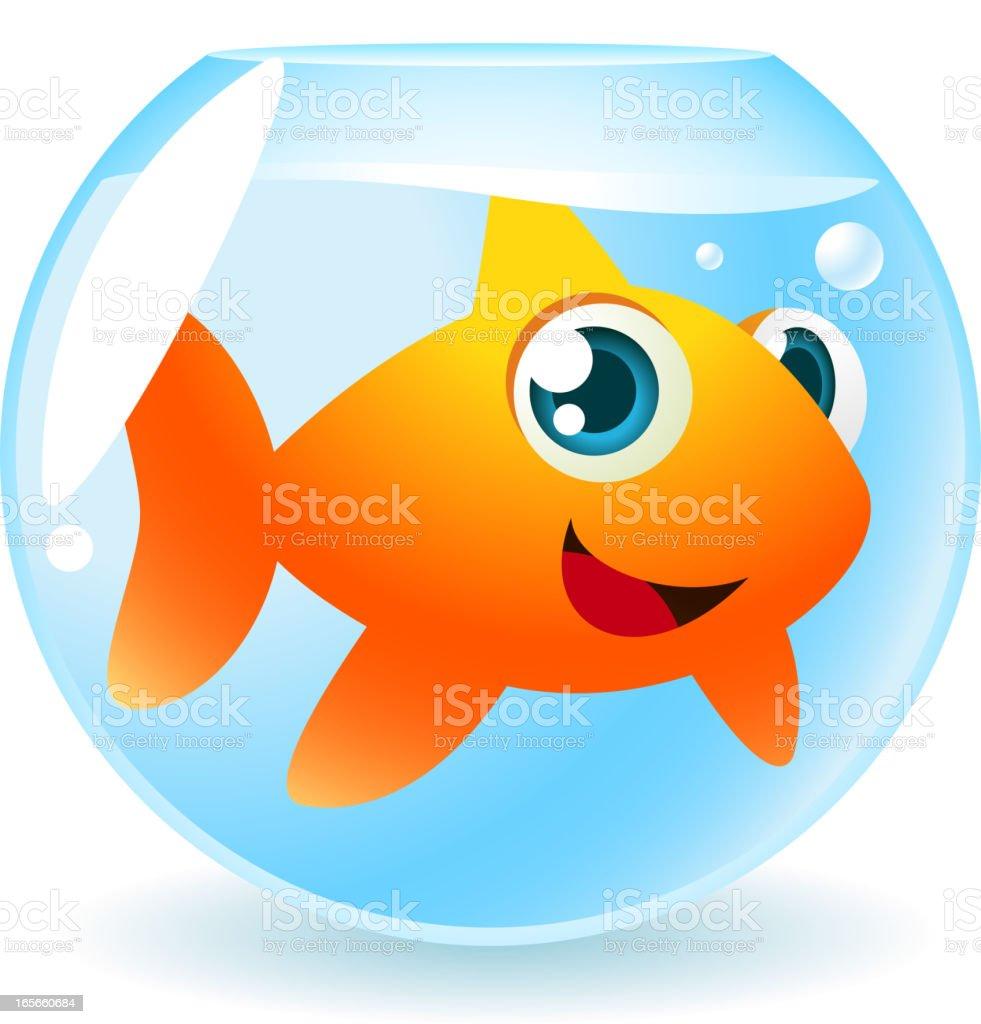 Fish tank clipart - Big Goldfish In Fish Tank Smiling And Looking At Camera Royalty Free Stock Vector Art
