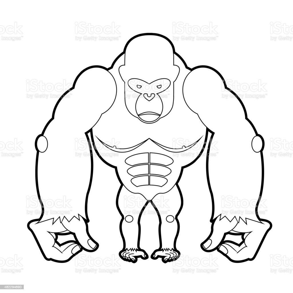 big gorilla coloring book vector illustration of african animal ... - Silverback Gorilla Coloring Pages
