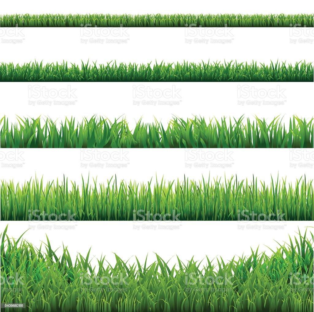 Big Grass Borders Set vector art illustration