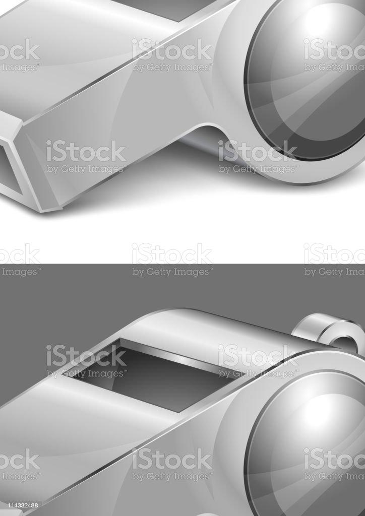 big gray whistle vector art illustration