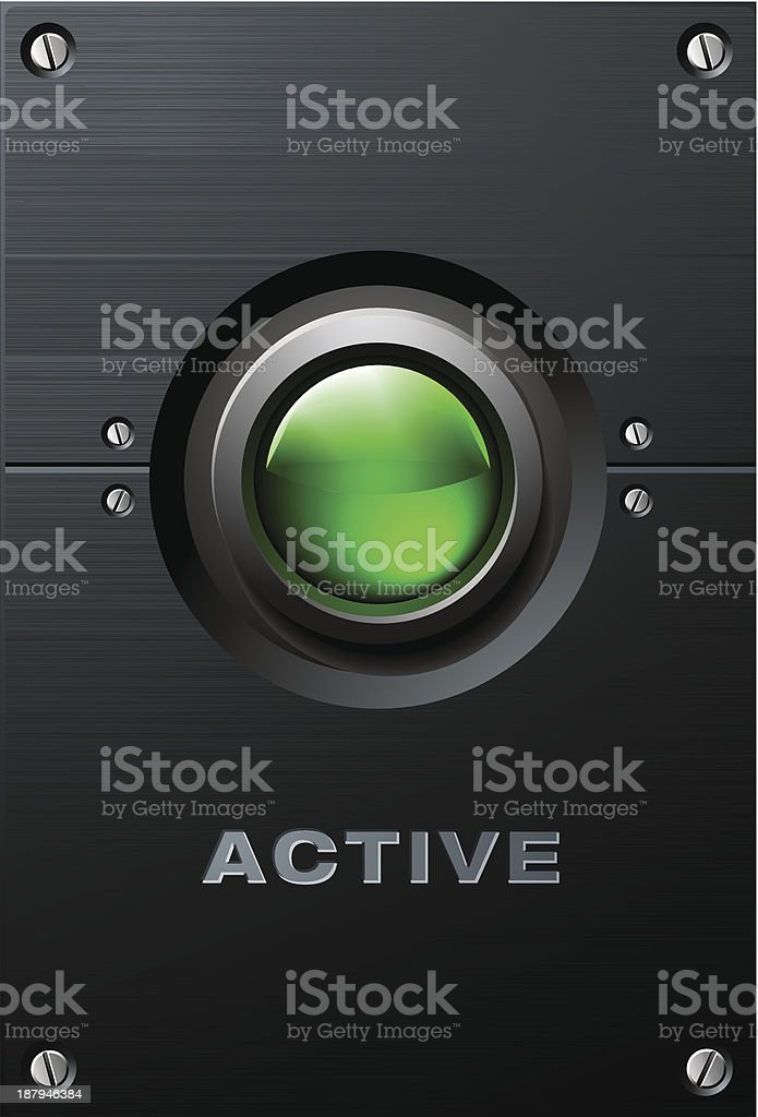 Big Green Glowing Button on Brushed Metal Plate vector royalty-free stock vector art