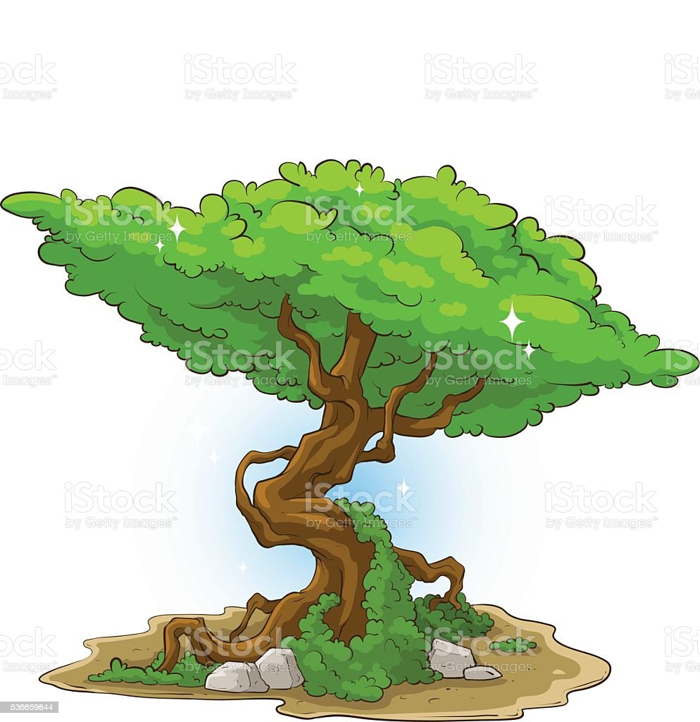 Big green tree with moss and stone vector art illustration